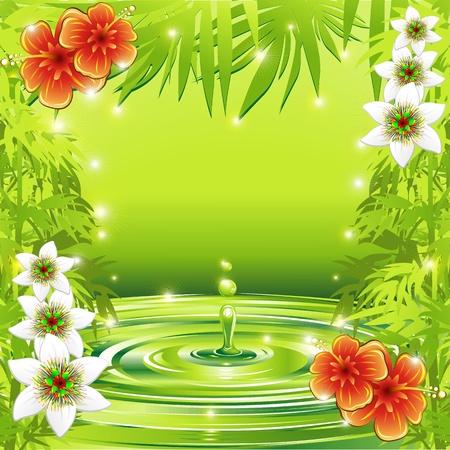 Fleurs fra�ches de l'eau de bambou vert et tropical Illustration