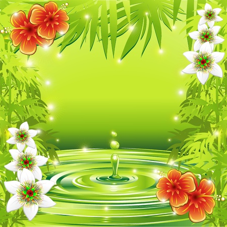 Fresh Green Water Bamboo and Tropical Flowers Vector