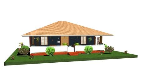 3d bungalow: Summer House-Bungalow with Porch-3d Stock Photo
