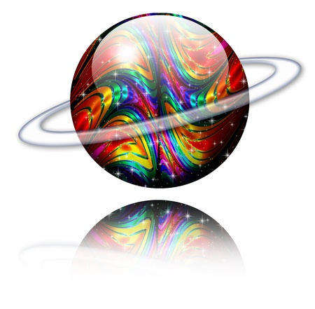 ellipse: Crystal Psychedelic Planet with Ellipse Stock Photo