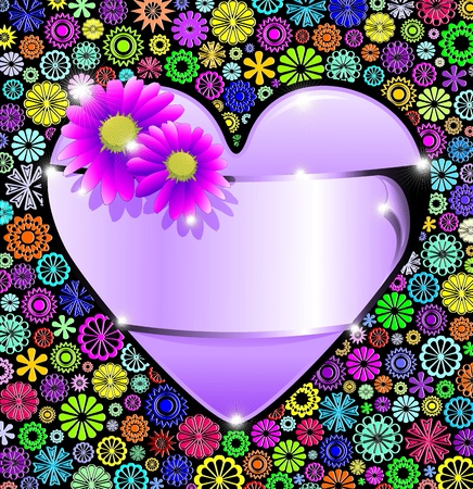 Floral Card and Purple Heart with Label Stock Vector - 13900472