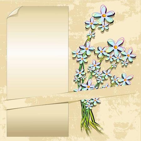 Delicate Flowers Vintage Grunge Label Card Stock Vector - 13936283