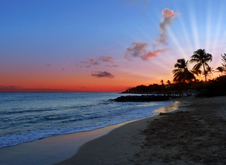 Peaceful Bright Sunset on Exotic Caribbean Beach