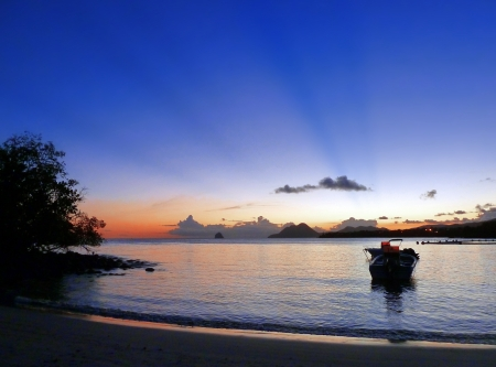 martinique: Peaceful Sunset on Exotic Bay with Boat