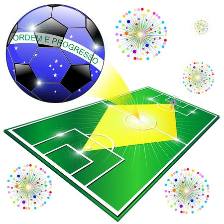 Brazil 2014 Flag Soccer Pitch World Championship  Vector