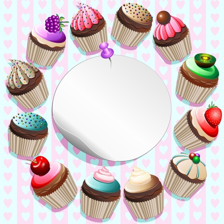 method: Cupcakes on Round Label Card-vector Illustration