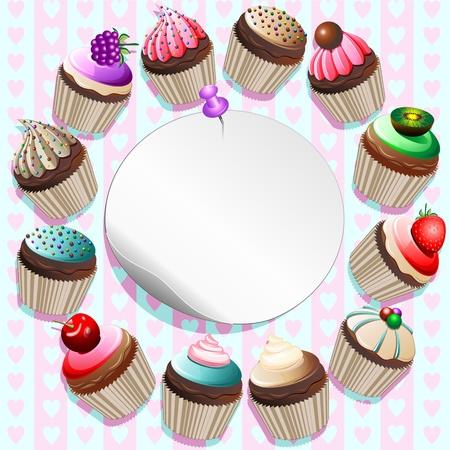 procedure: Cupcakes su etichetta rotonda Card-vector Vettoriali