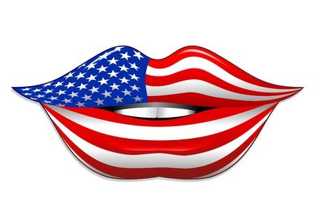 USA Flag Lipstick on Smiling Lips  Vector