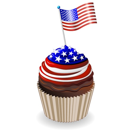 USA Flag Stars and Stripes Cupcake Vector