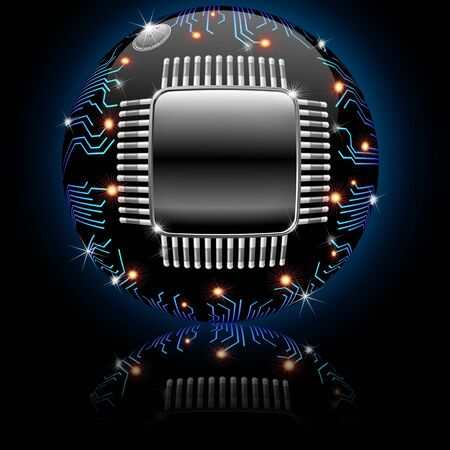 Electronic Motherboard Circuit Sphere Globe Stock Photo - 14393458