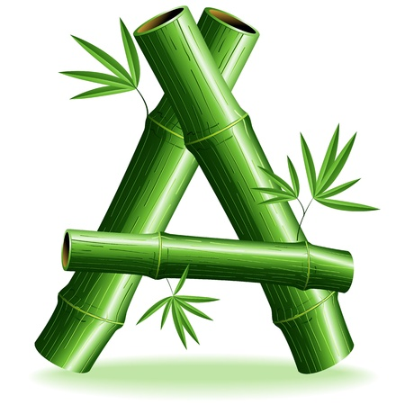 bamboo leaves: Bamboo Logo Letter Sign A