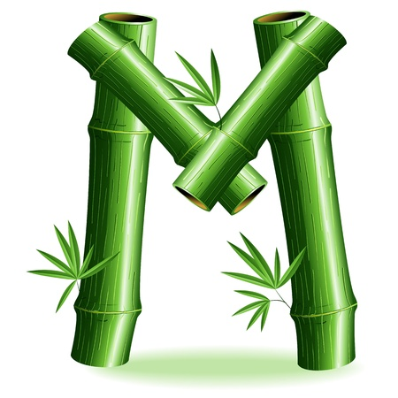 bamboo leaves: Bamboo Logo Letter Sign M