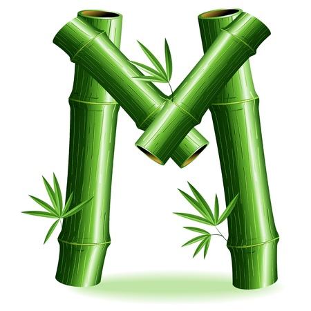 initial: Bamboo Logo Lettera M Sign Vettoriali