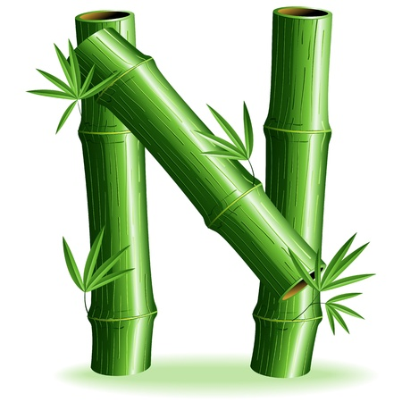Bamboo Logo Letter Sign N Vector
