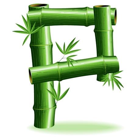 letter p: Bamboo Logo Letter Sign P