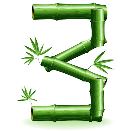 three leaves: Bamboo Logo Sign Number 3 Illustration