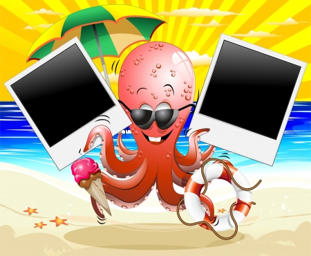 Funny Cartoon Octopus Summer Holidays Memories Stock Vector - 14658423