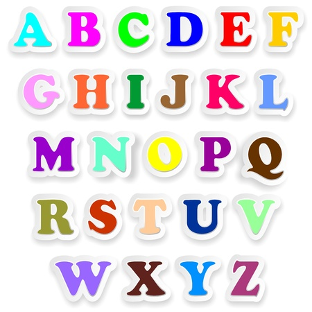 Alphabet Letters Fonts Uppercase Colors Stickers  Vector