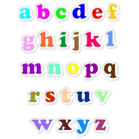 Pegatinas letras del alfabeto itálico Cursive Fonts Ilustración de vector