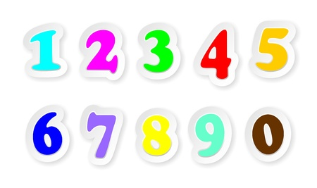 Stickers Numbers Sign Colors Vector