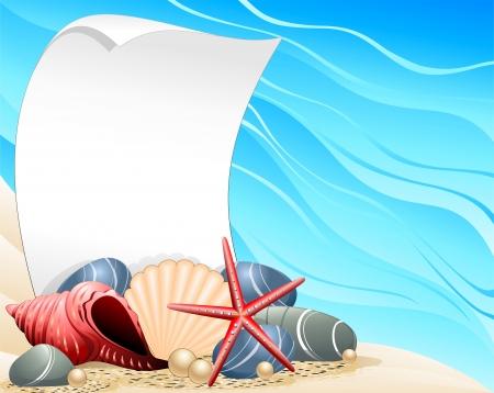 seabed: Seashells Starfish and Pearls Ocean Card