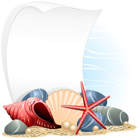 Seashells Starfish and Pearls Ocean Card Vector