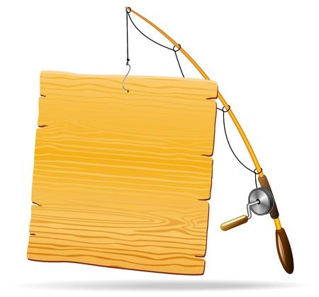 fishing hook: Canna da pesca con pannello in legno