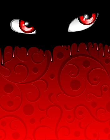 Red Bloody Eyes Halloween Poster Stock Vector - 15206521