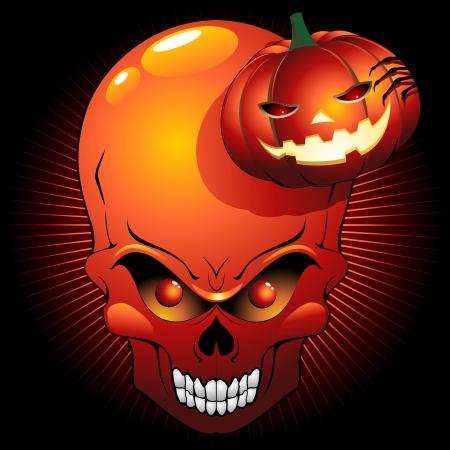Halloween Skull and Pumpkin Stock Vector - 14981630