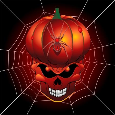 Cr�ne Halloween Potiron effrayant et Spider Web
