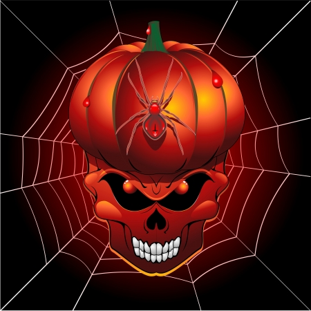 Halloween Scary Pumpkin Skull and Spider Web Vector
