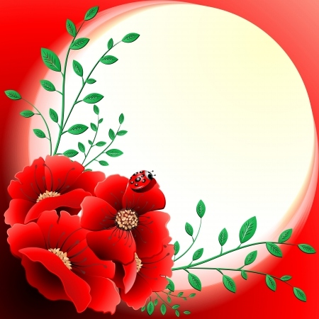 Spring Poppies Floral Greeting Card Vector