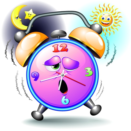 tired cartoon: Alarm Clock Funny Cartoon Day and Night Illustration