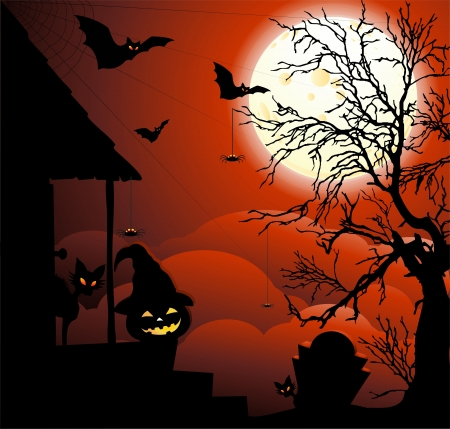 witch spider: Halloween Night with Moonlight Illustration