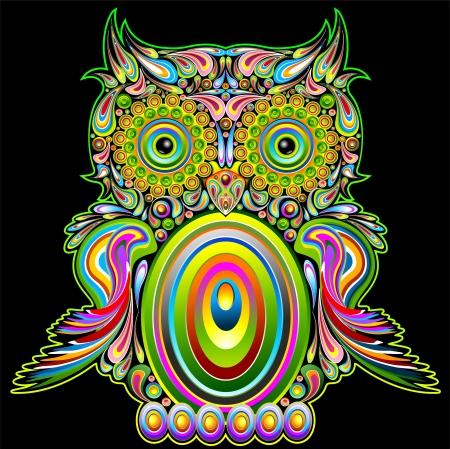 Hibou psych�d�lique Art Design Pop