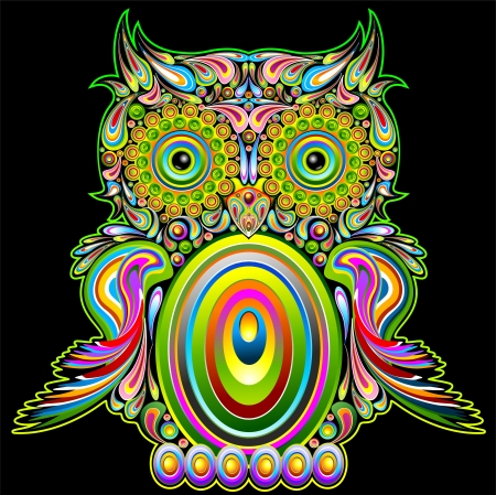 superstitions: Owl Psychedelic Pop Art Design  Illustration