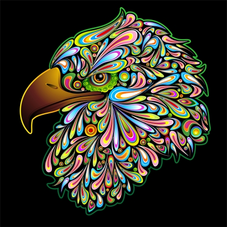 Eagle Hawk Psychedelic Design Vector