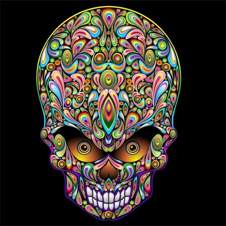 Psychedelic Art Design Skull Pop Illustration