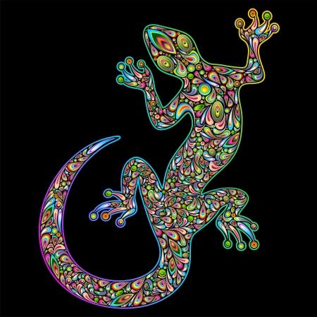 jaszczurka: Geko Gecko Lizard Projektowanie Psychedelic