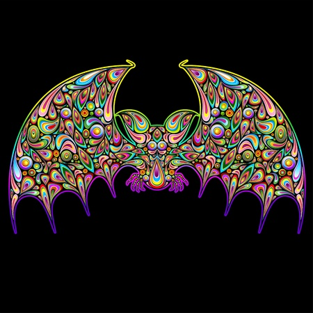 Bat Psychedelic Art Design Stock Vector - 15678771