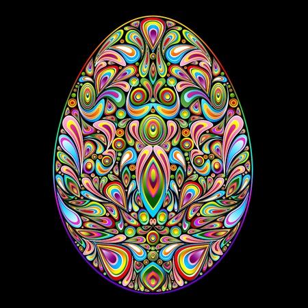 Easter Egg Psychedelic Art Design Illustration
