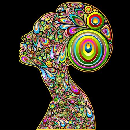 Vrouw Psychedelic Art Design Portret