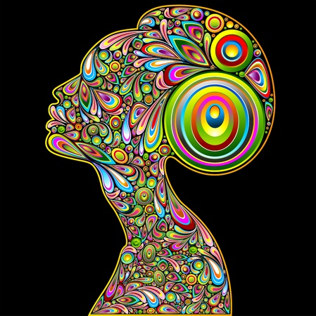 psychedelic: Woman Psychedelic Art Design Portrait