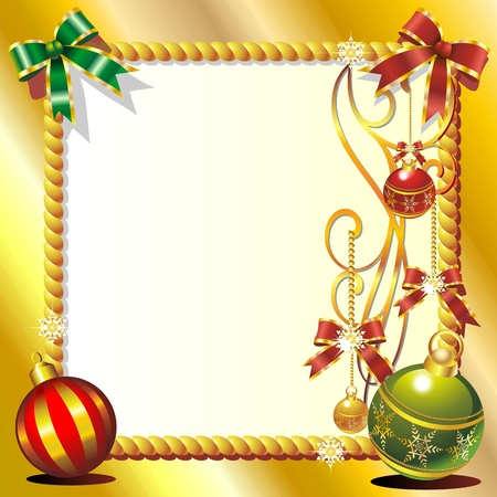 Christmas Ornaments Golden Greeting Card Vector