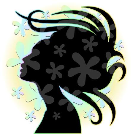 femme africaine: Femme Hair Stylist s Portrait avec des fleurs Illustration