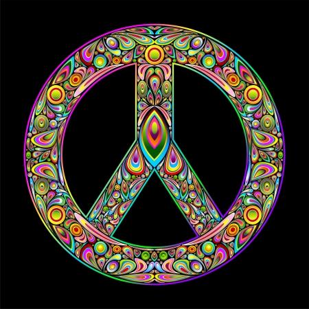 Símbolo de la Paz Psychedelic Art Design Ilustración de vector
