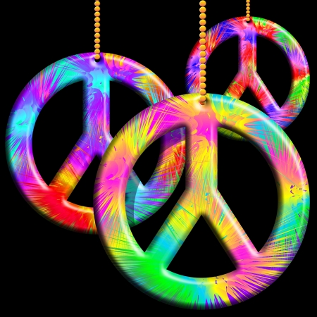 peace symbol: Peace Symbols Psychedelic Ornaments Stock Photo