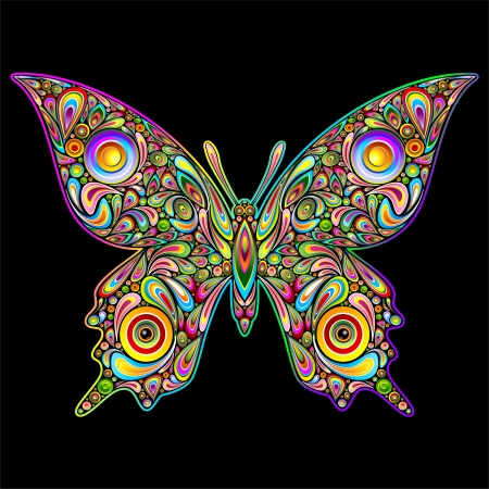 psychedelics: Butterfly Psychedelic Art Design Illustration