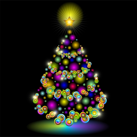 Christmas Tree Colorful Lights Design Stock Vector - 16113344