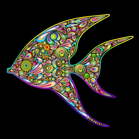 angel fish: Angel Fish Psychedelic Art Design